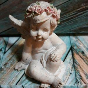Angel Baby Figurine Wings Flowers